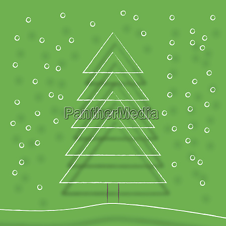simple line drawing of christmas tree