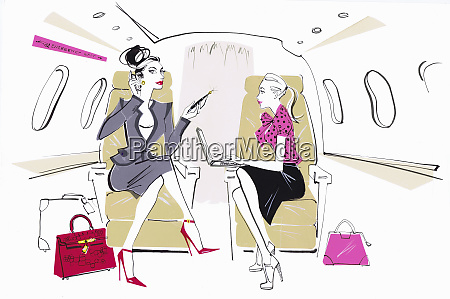 busy powerful businesswoman on private jet