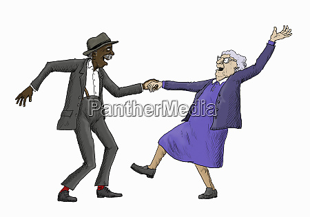 elderly couple having fun jive dancing