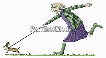 elderly woman having fun running to