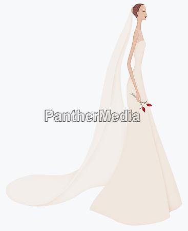 beautiful elegant bride wearing wedding dress