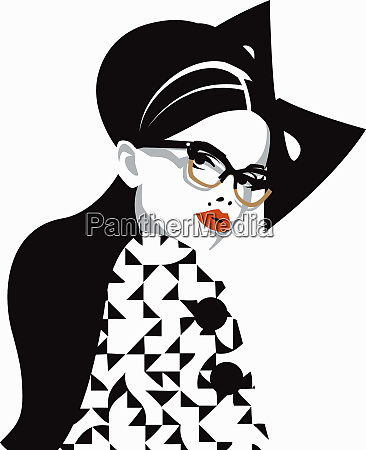 fashion model wearing glasses and red