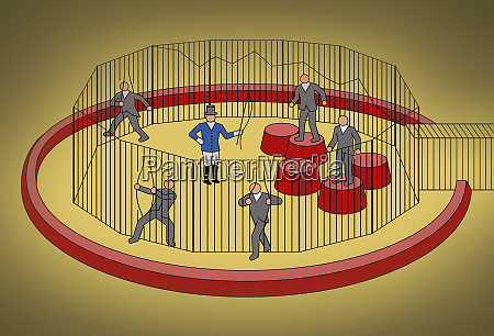 businessmen escaping from cage ignoring circus