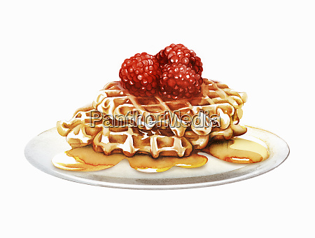 raspberry waffles oozing with honey
