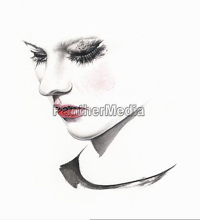 smutna kobieta placz z rozmazany makijaz