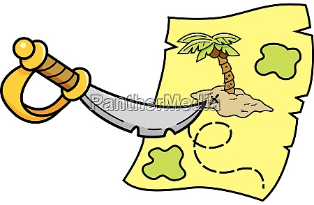 cartoon illustration of a sword pointing