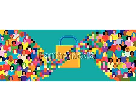 piksele, tłum, streaming, w, kłódkę - 26028086