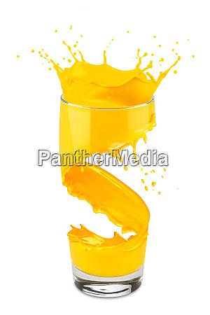 orange juice glass splash