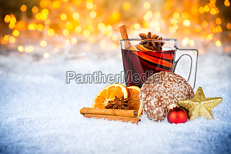 hot mulled spiced red wine in