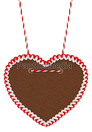empty red white gingerbread heart