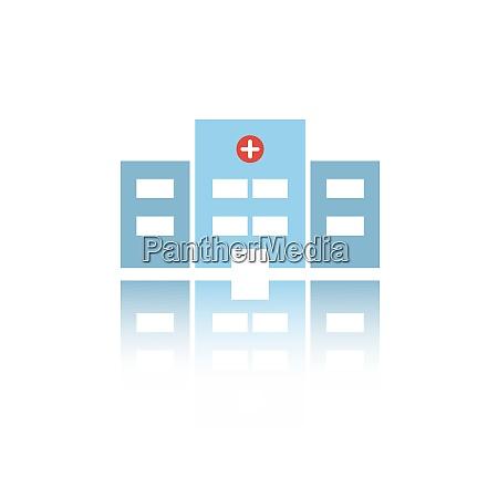 ikona koloru izolowanego szpitala z odbiciem