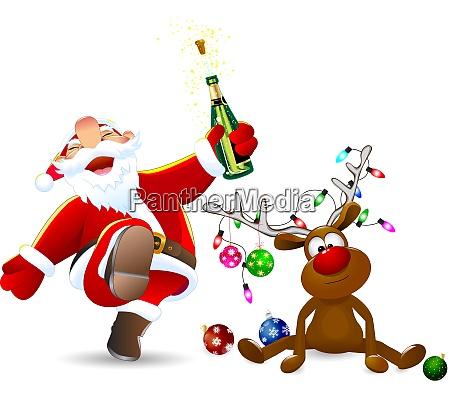 merry santa claus i jelen ozdobiony