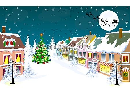 miasto zima noc santa na sankach