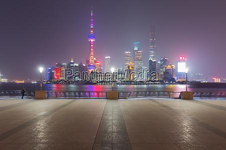 shanghai city at night china