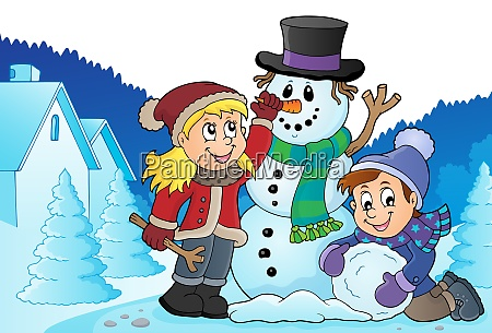 kids building snowman theme image 3