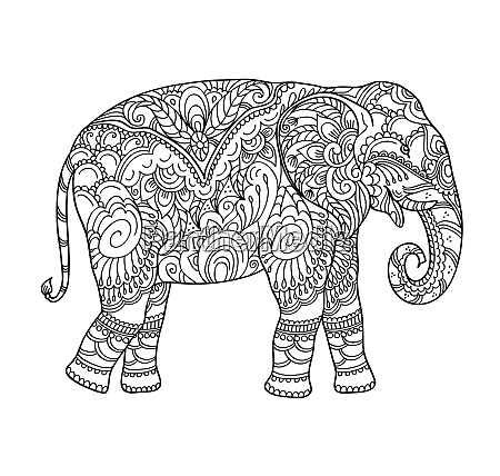 drawing, zentangle, elephant, , for, coloring, book - 26145947