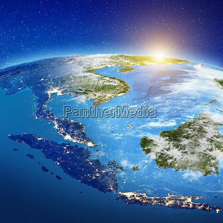 azja poludniowo wschodnia z kosmosu