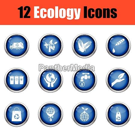 ecology icon set glossy button