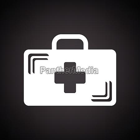 ikona przypadku medycznego czarne tlo z