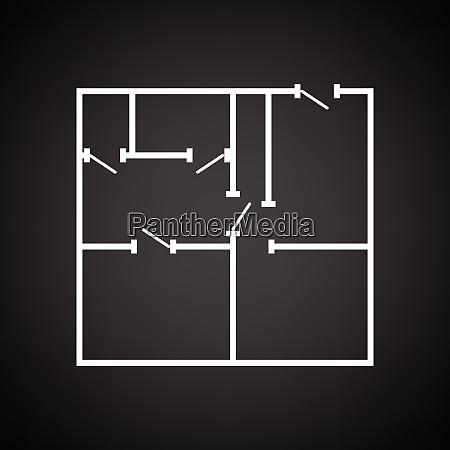 icon of apartment plan black background