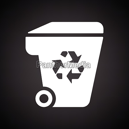 garbage container recycle sign icon black