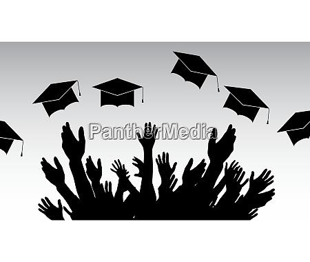 absolwenci ludzie rzucaja kwadratowa czapke akademicka