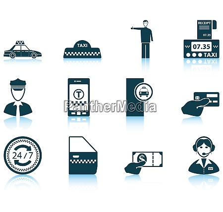 set of twelve taxi icons with