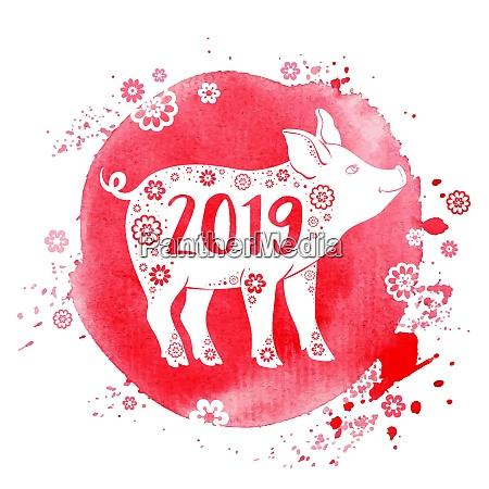 cute pig symbol chinskiego zodiaku dla