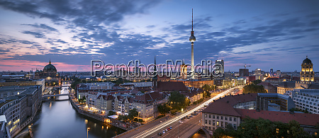 germany berlin elevated city view at