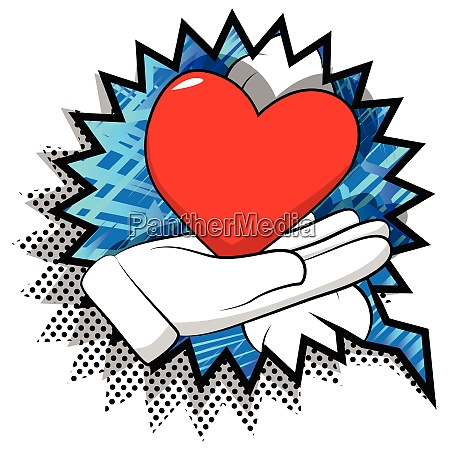 cartoon hand showing red heart