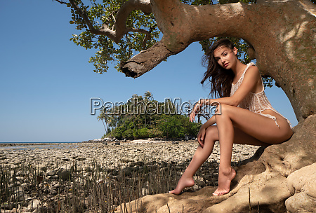 beautiful woman on the tropical