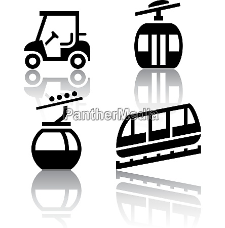 zestaw ikon transportu rekreacja
