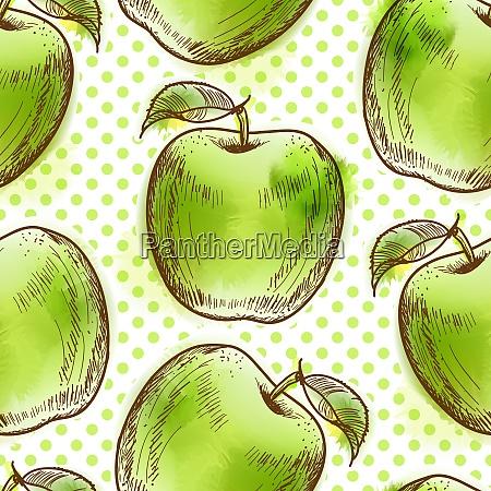 bezszwowy wzor z zielonym jablkiem