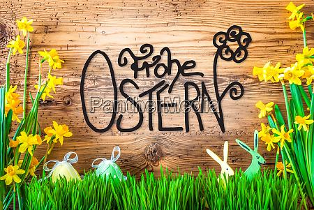 dekoracja wielkanocna wiosenna kaligrafia kwiatowa frohe