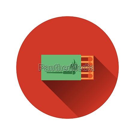 flat design icon of match box