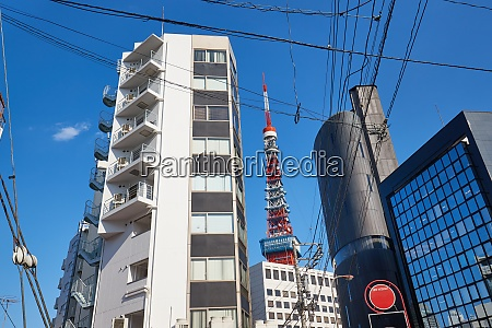 tokyo tower view from streets