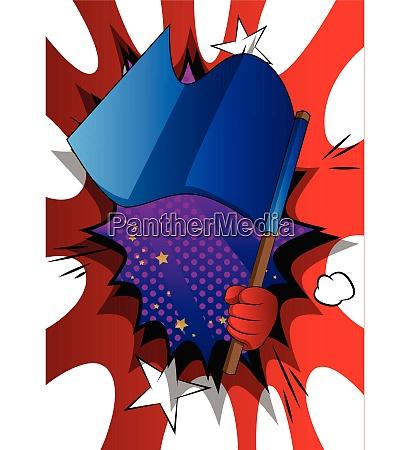 vector cartoon hand holding a flag