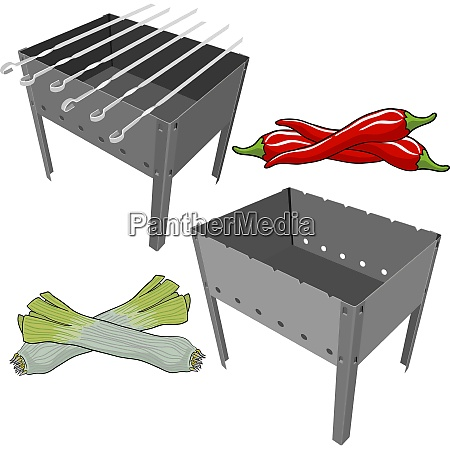 vector black bbq grill with onions