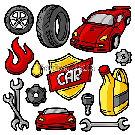 set of car repair service objects