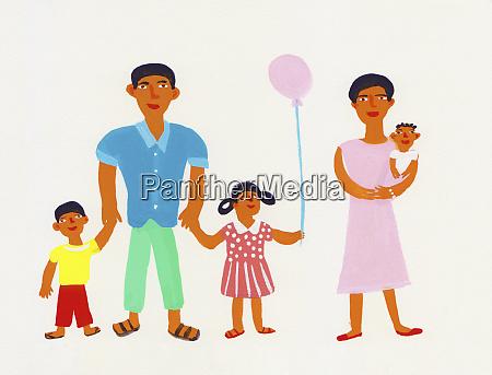 portret rodziny patrzac na kamere