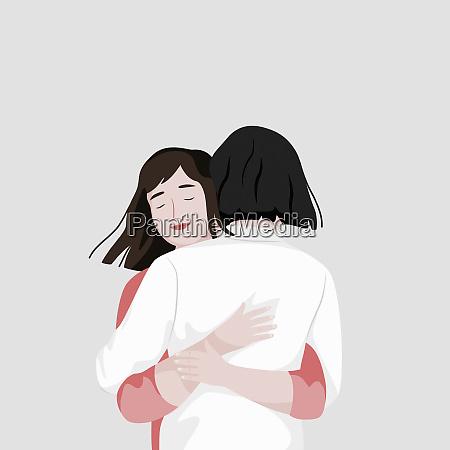 dwa przyjaciele przytulanie