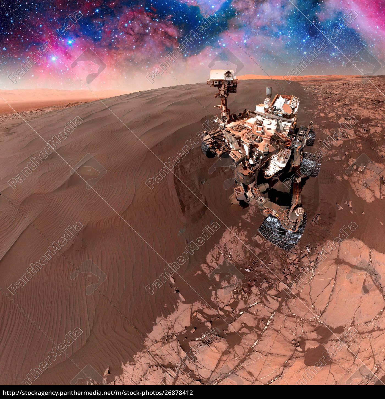 Łazik, curiosity, eksplorujący, powierzchnię, marsa. - 26878412