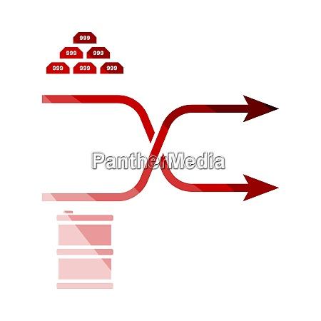ikona wykresu porownawczego zlota i ropy