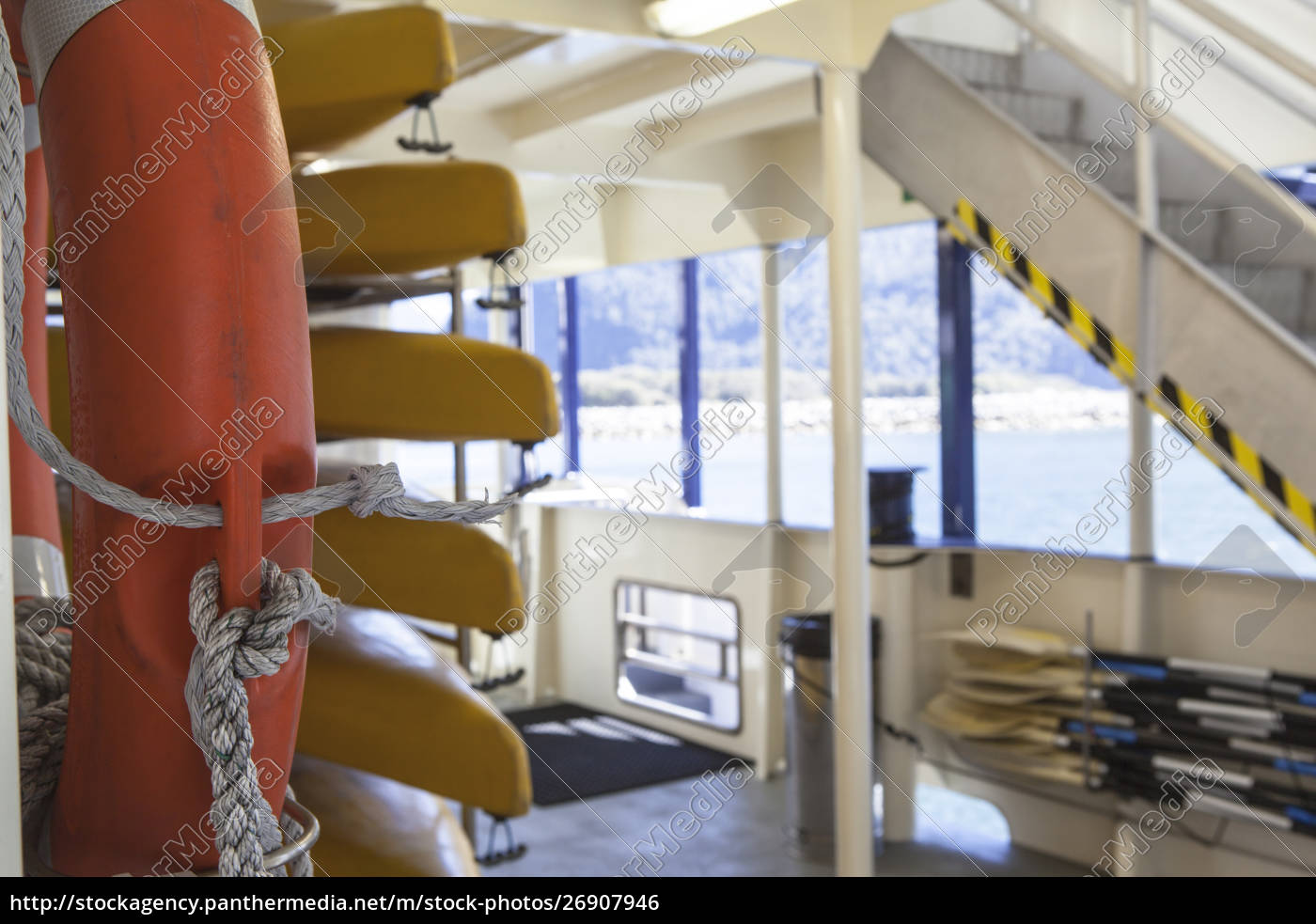 lifeboats, and, life, ring, on, ferry - 26907946