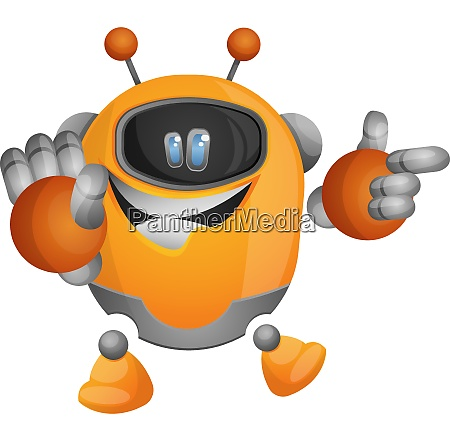cute orange robot pointing at something