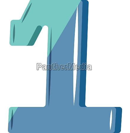 blue number one illustration vector on