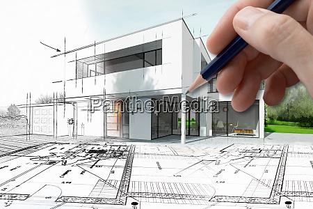 rysunek nowoczesnego domu ktory staje sie