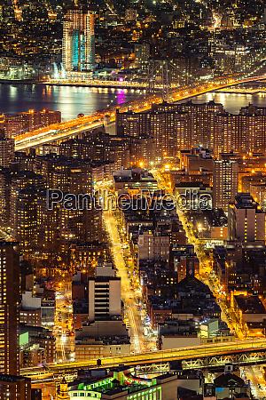 aerial manhattan bridge new york