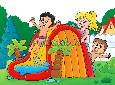 kids on water slide theme image