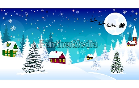 boze narodzenie zima wioska noc snieg